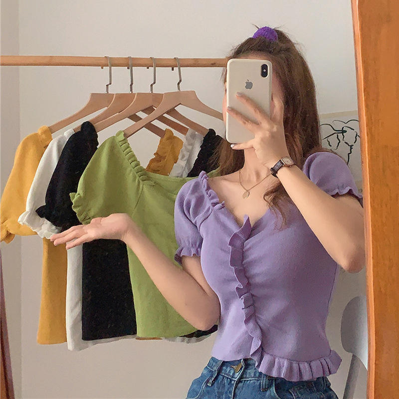 Cute Sweet Ruffle Fashion Summer Casual Spandex V Neck Short Sleeve Ladies Basic Latest Design Girls Woman Knitted T-shirt Top