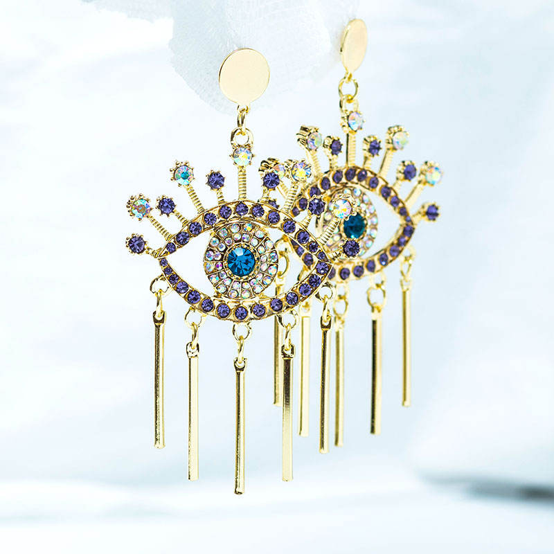 2020 Vintage Fashion Womens Earrings Rhinestone Evil Eye Tassel Metal Hoop Earrings Party Earrings