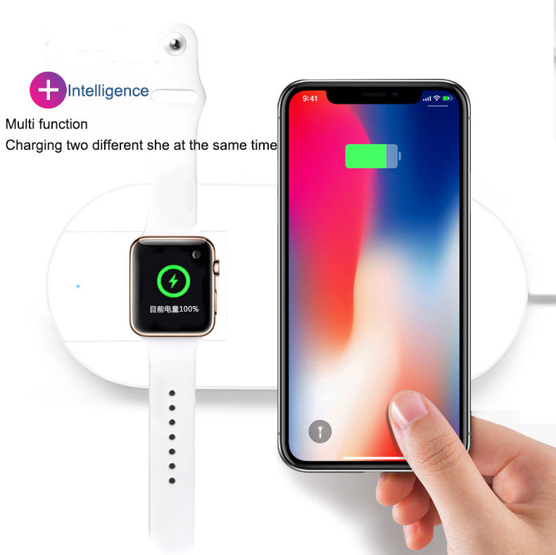 2020 Hot Sale 2-In-1 Portable Wireless Charger untuk Samsung Iphone IWatch Generasi Universal Wireless Charger
