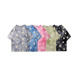 Summer Tie- dyed T shirts Men 100% Cotton T-shirts Flower T-shirts