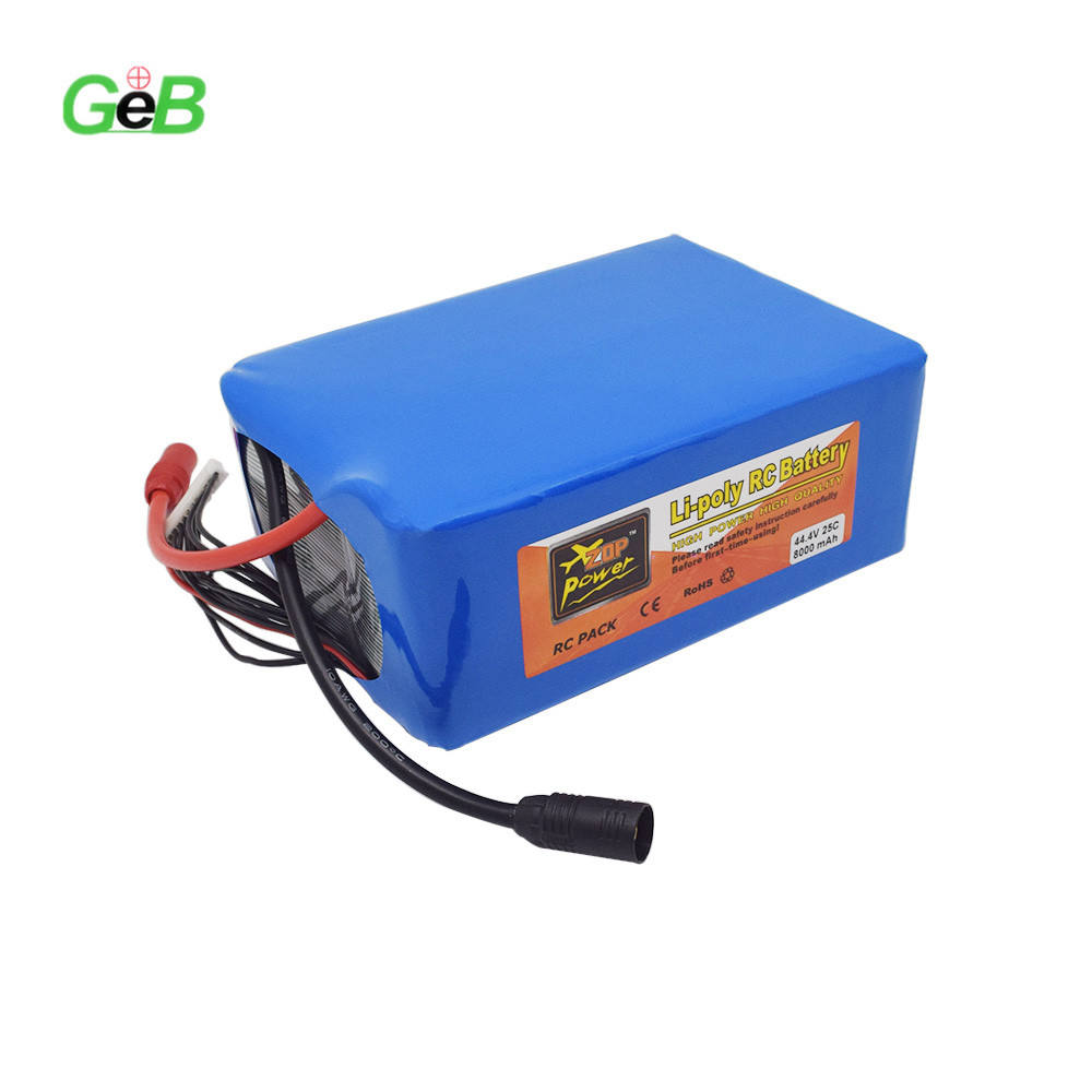 High Cycle Life Drone 8000MAH 12S 44.4V 25C with XT90 Plug Li-polymer Li-po Lithium Rechargeable RC Battery for UAV