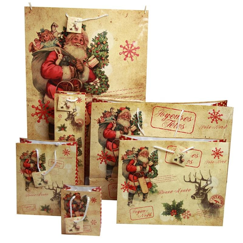 promotion 2018 hot sale Christmas design shopping paper gift bag