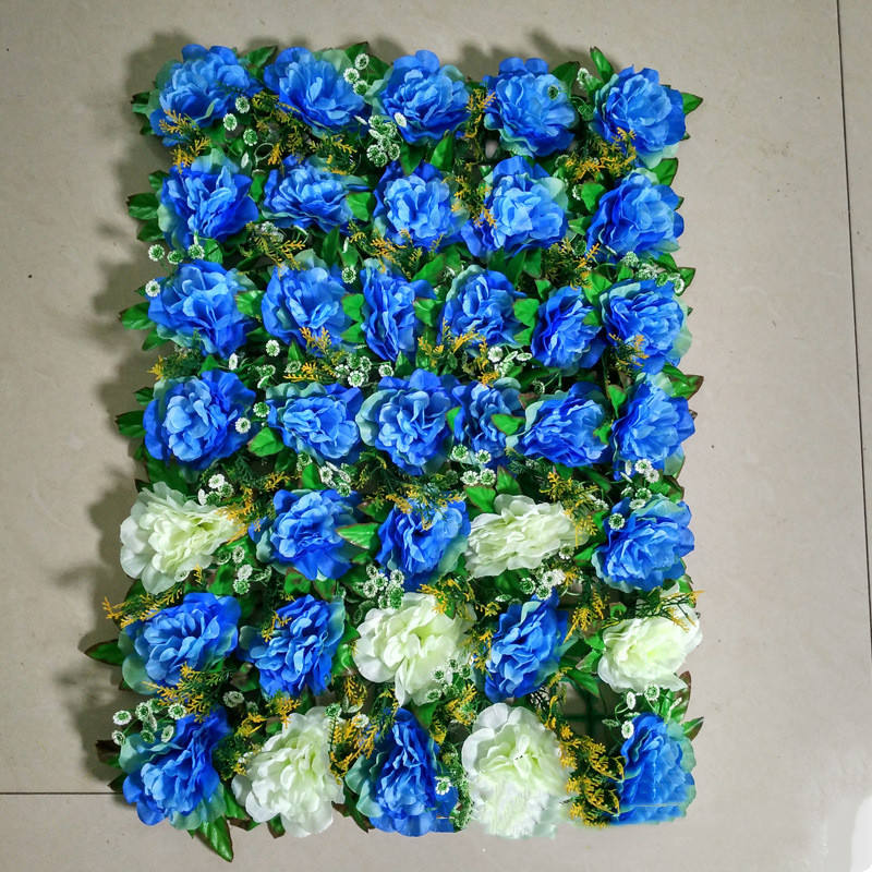 Beautiful Colorful Wedding Decoration Flowers Artificial Wall M335 Stage Backdrop Panels Flower Mat Plastic Silk Red Rose Panel