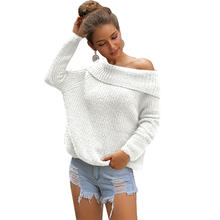 High Quality Women Causal High Neck Loose Pullover Knit Sweater