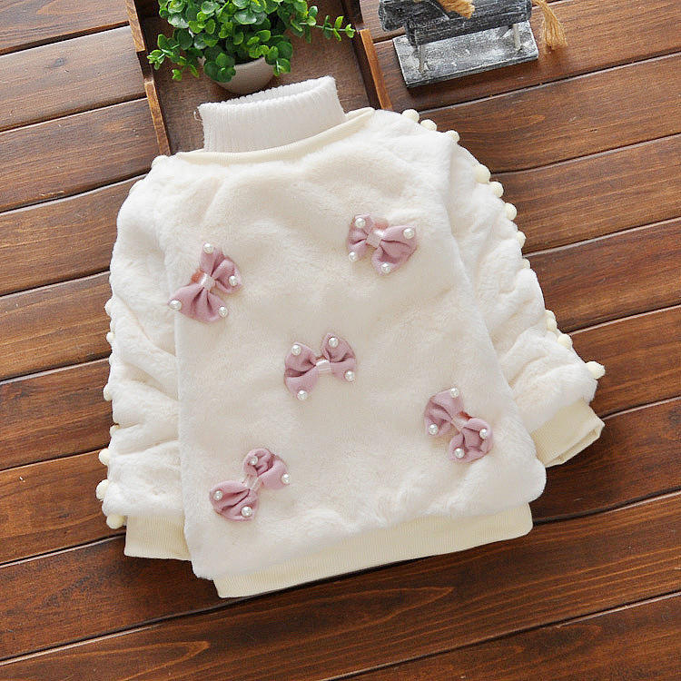 2020 hot selling Bunny fur sweater Bow pattern cute baby coat sweater winter thick warm baby girl clothes
