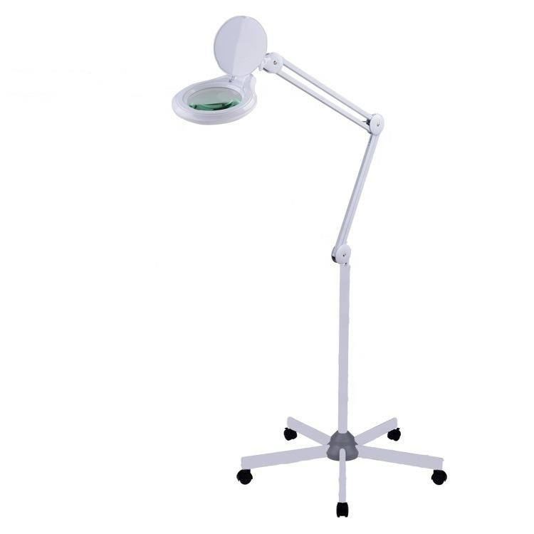 illuminated magnifying lamp led with dimming 5-leg wheels stand magnifier lash lampe loupe for medical beauty salon tattoo