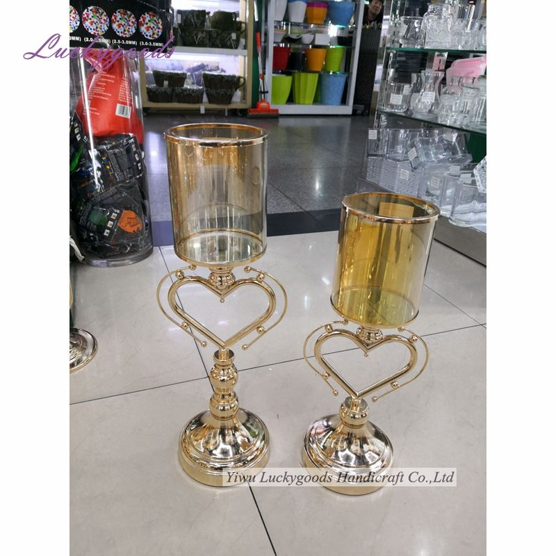 LK20190712-9 Luckygoods wholesale gold glass candle holder with gold metal stand