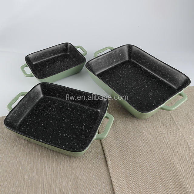 reactive color Glazed restaurant stoneware bakeware ceramic set baking pans with handle