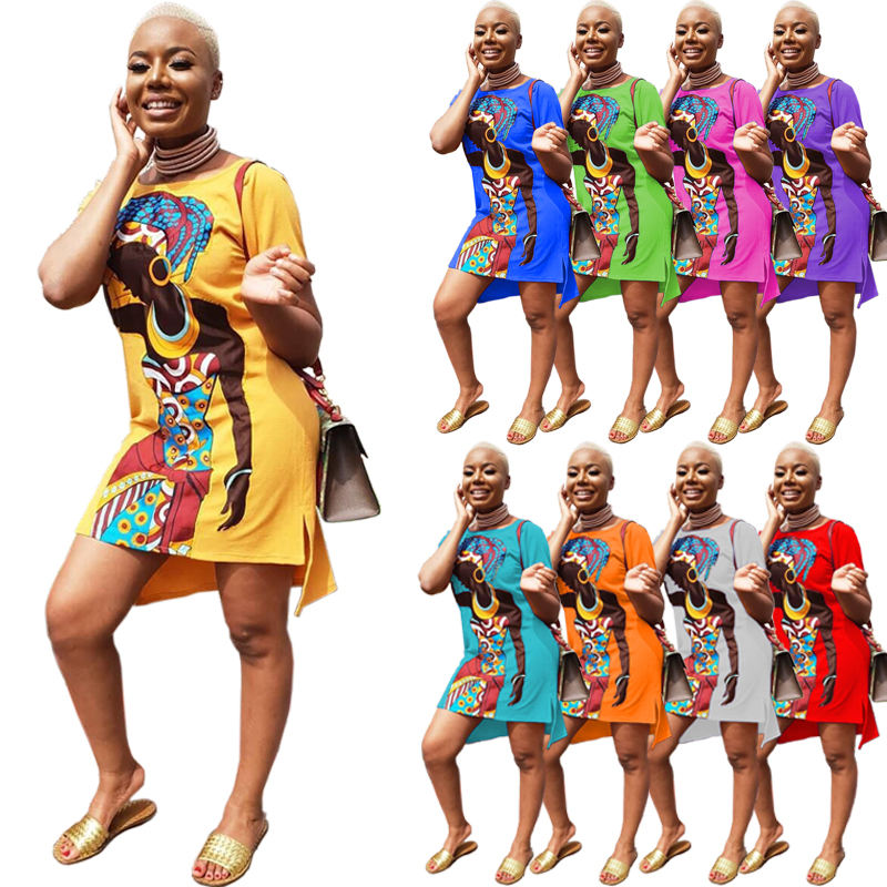CY8103 Women elegant Causal dresses 9 colors Summer Plus size S-5XL african girl printed short sleeve dresses