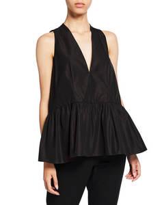 Neue Mode Damen Einfarbig V-ausschnitt Taft Babydoll Lose Phantasie Damen Tops Bluse
