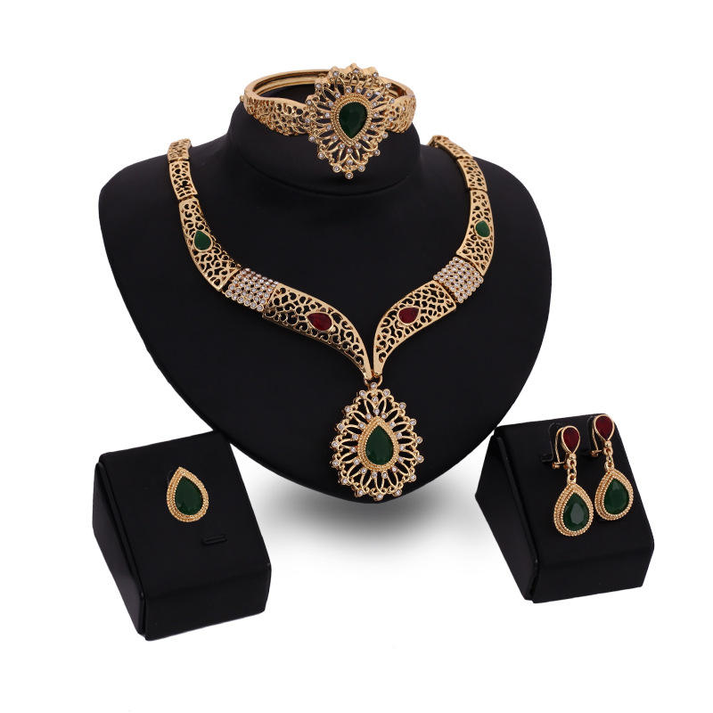 Fashion Indian wedding jewelry set Alloy Gold Necklace earrings bracelet and ring 4pcs jewelry set X4168