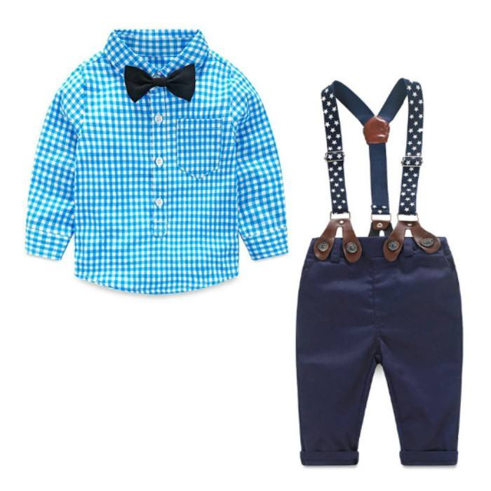 Spring Cotton Gentleman Baby Boys Clothes Sets Plaid Long Sleeve Top Biw Tie Shirt Rompers Suspenders Pants Y10695