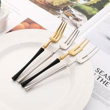 Wholesale China supplier mini stainless steel rose gold rainbow dessert fork fruit fork Set With Gift Box