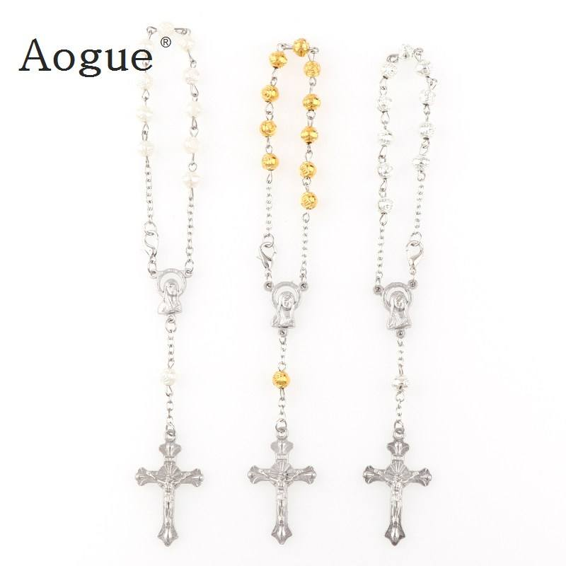 6mm Plastic Rose Beads Rosary Bracelet With Silver Lobster Made Metal Maria Center & Jesus Crucifix Cross Pendants