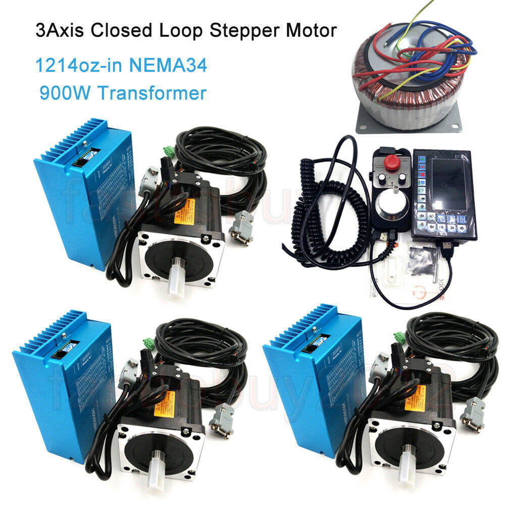 1214oz-in Close Loop Stepper Motor Nema34 8.5NM DSP Drive//Power Supply//PC Cable
