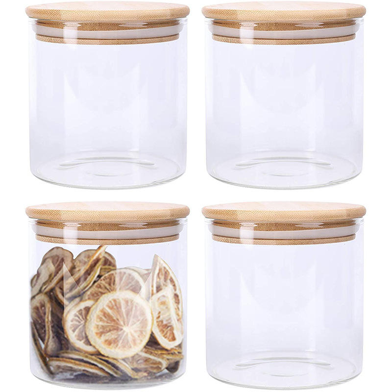 9 OZ (270 ml) Jars Glass With Sealed Bamboo Lids Glass Jars Food Storage Canister Glass Storage Jar For Tea Sugar Grains Spice