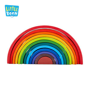 12 Pcs Colored Arch Rainbow Bridge Set Children Montessori Educational Wooden Brick Toys Building Blocks For Kids