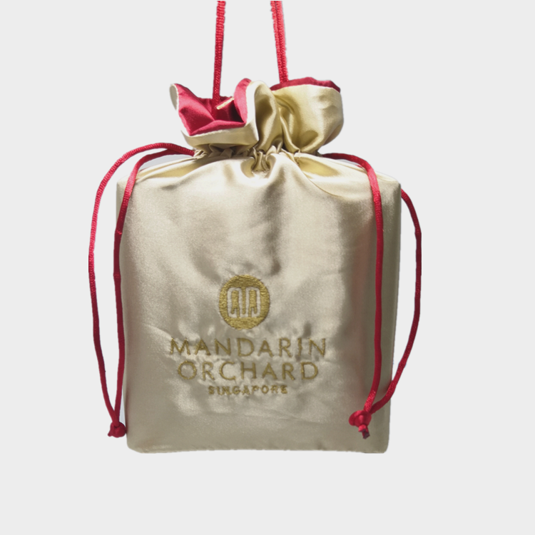 Promotion Microfiber Fabric Drawstring Bag With Embroidery LOGO Satin Drawstring Gift Bag Packing Bag