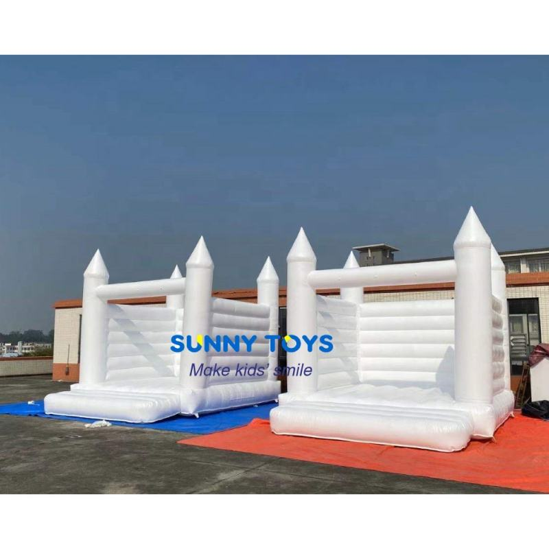 Inflatable party jumping castle white trampoline for kids party and wedding