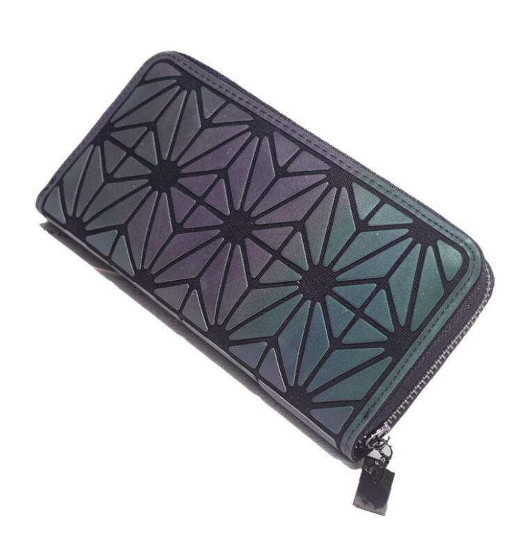 Luminous Clutch Wallet Long Lattice Handbag Womens Purse Holographic Geometric Purse