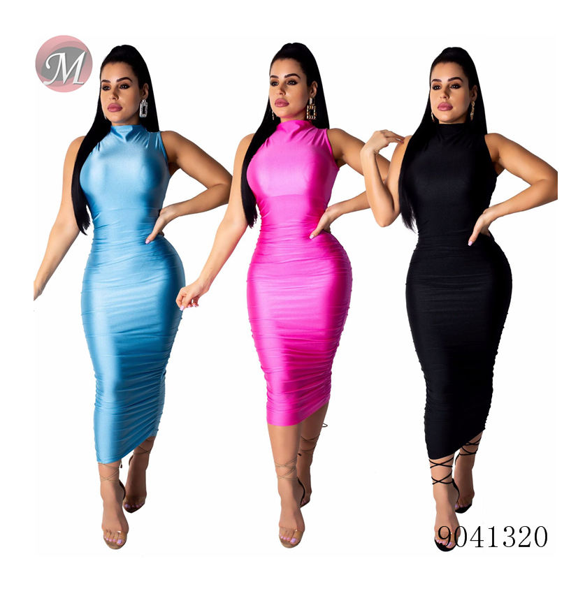 9041320 Women sleeveless smooth reflective bandage bodycon midi dress