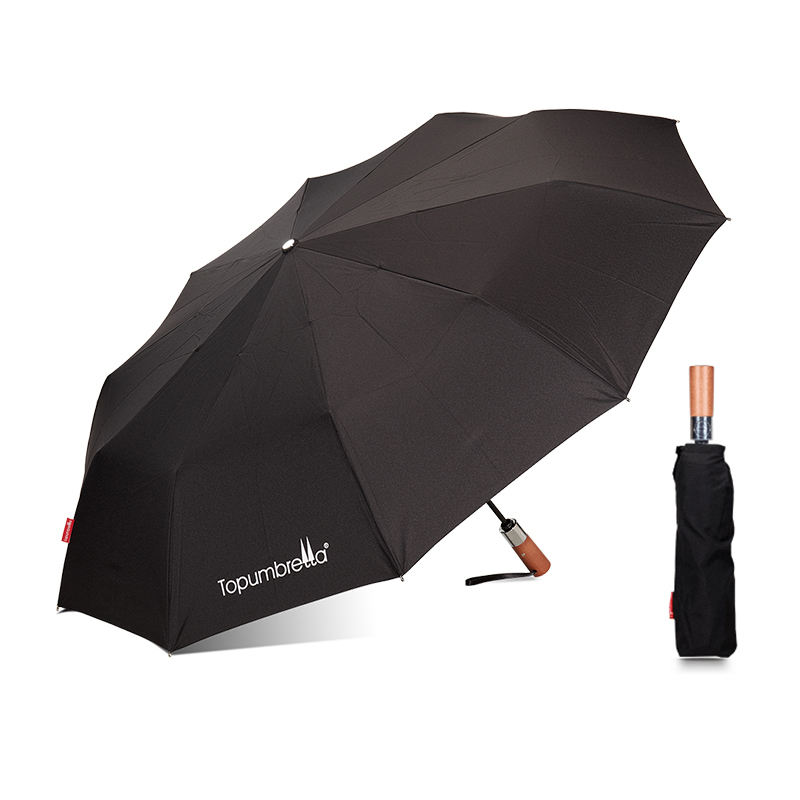 High Quality Windproof Wood Handle Auto Open Close Rain Fold Umbrella