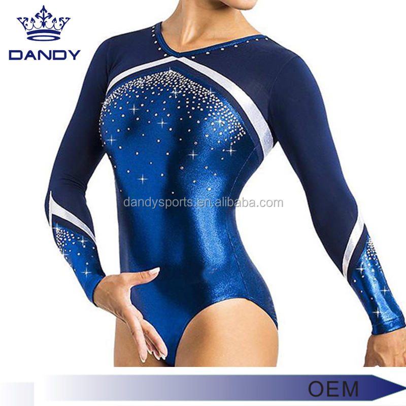 Custom your own design gymnastics leotards competition gymnastic leotard with rhinestones