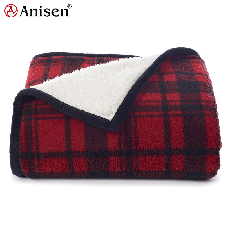 wholesale chinese solid color winter custom plush microfiber adult plaid fleece throw blanket
