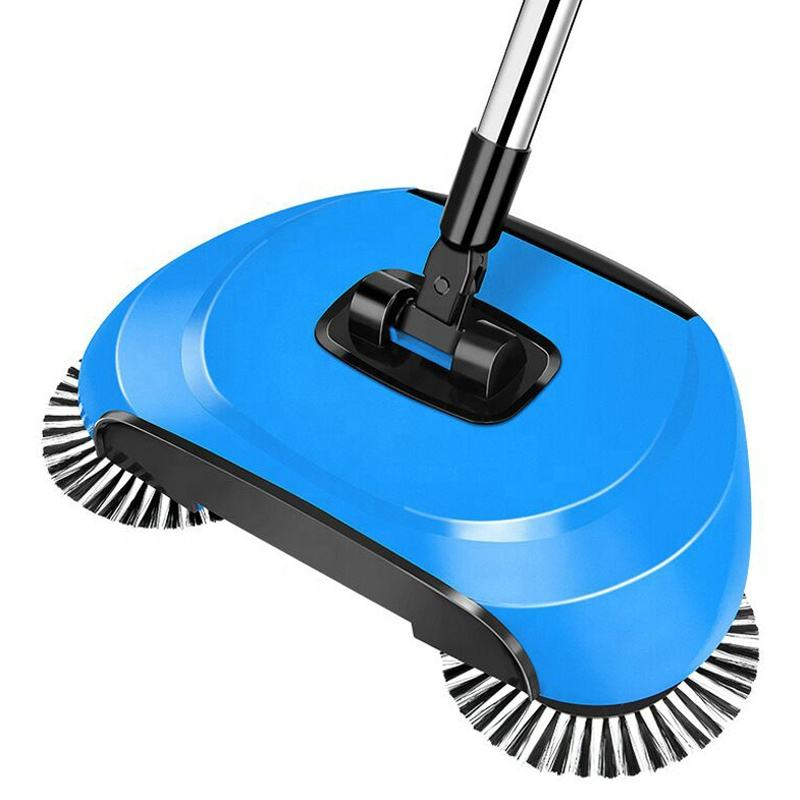 Hand push spin broom making machine, sweeper with microfiber cleaning broom holder
