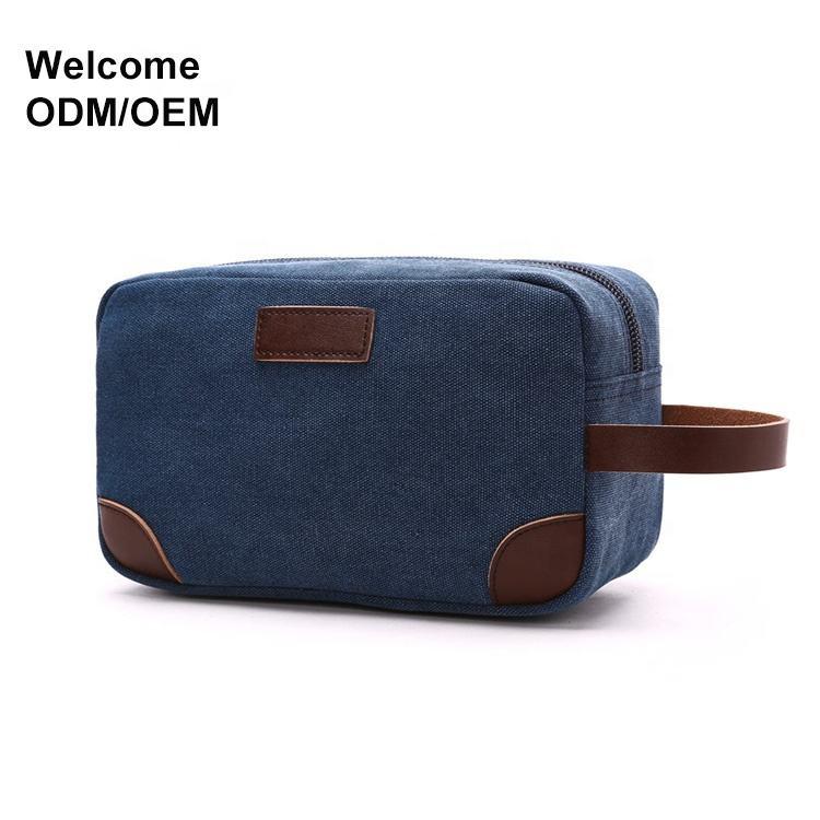 D'ODM D'OEM promotionnel cosmétique logo petit sac de voyage en cuir de toile hommes sac de toilette suspendu pour homme