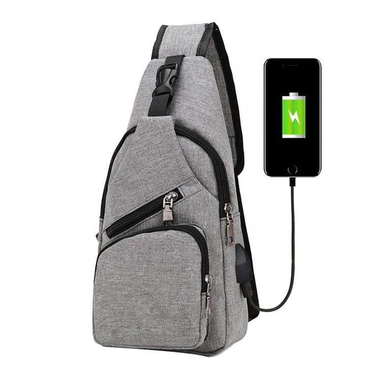 Young Mens Boys Crossbody Shoulder Sling Bag Backpack with USB Charger Tablet Pouch for School Students