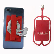 hot selling customized logo Silicone Lanyard Mobile Phone Holder Credit Card Holder Cell Phone Silicone Case Holder