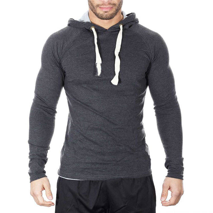 Wholesale Sports 95% Cotton 5% Spandex Slime Fit Muscle Men Wear Hoodies Heather Grey Adjustable Drawcord Plain Sweatshirt
