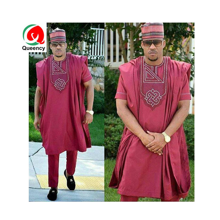 Queency African male shirt and pants set up and down set 100% cotton