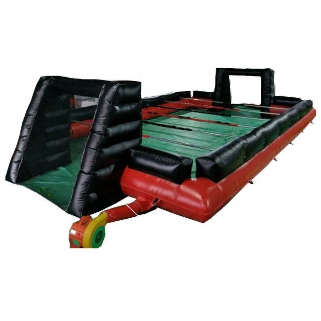 Promotion Cheap Giant Inflatable human foosball court/table soccer field with steel pipes/human table football playground