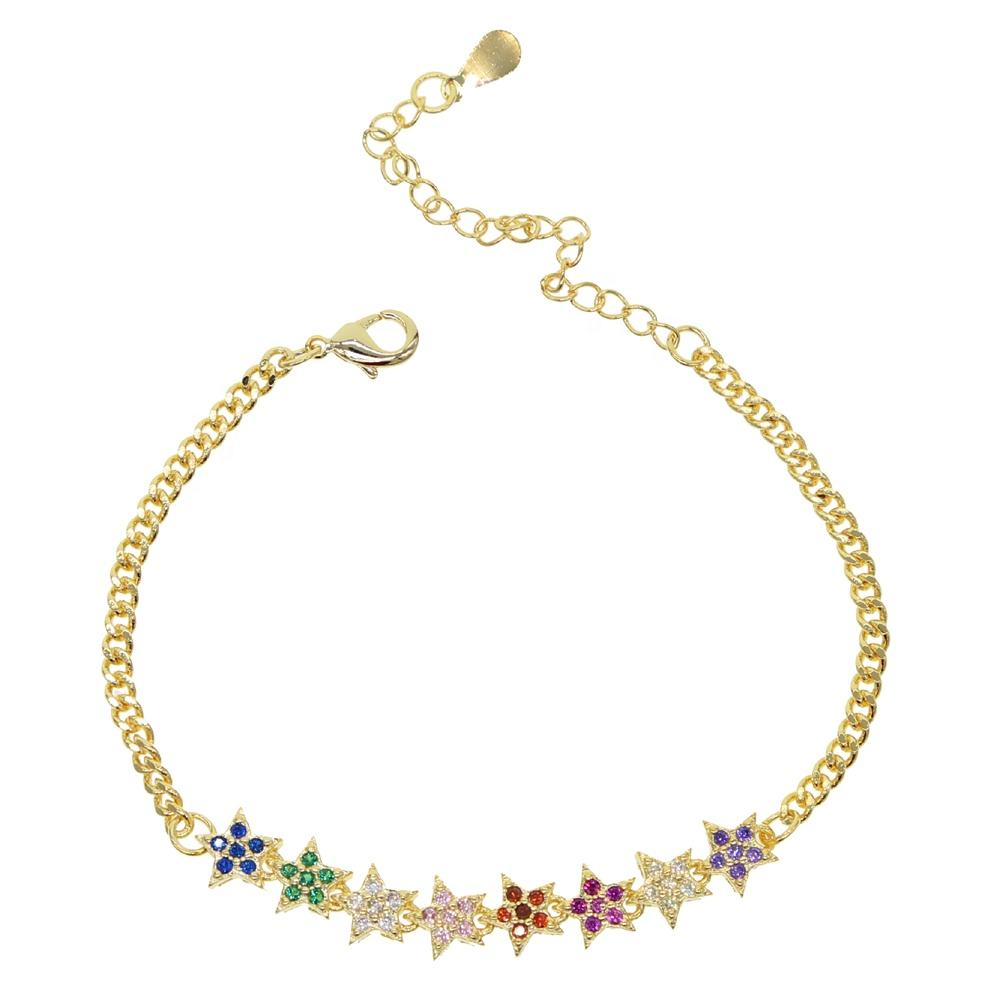 fashion gold filler rope thick chain set rainbow cz paved flower charm bracelet with multi flower charm bracelet for wedding