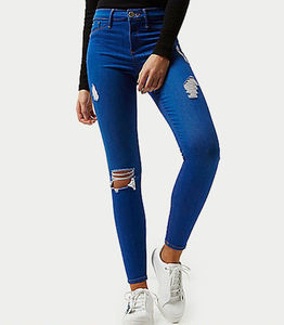 wholesale Fashion Women High Waist Jeans Bright blue ripped jeggings