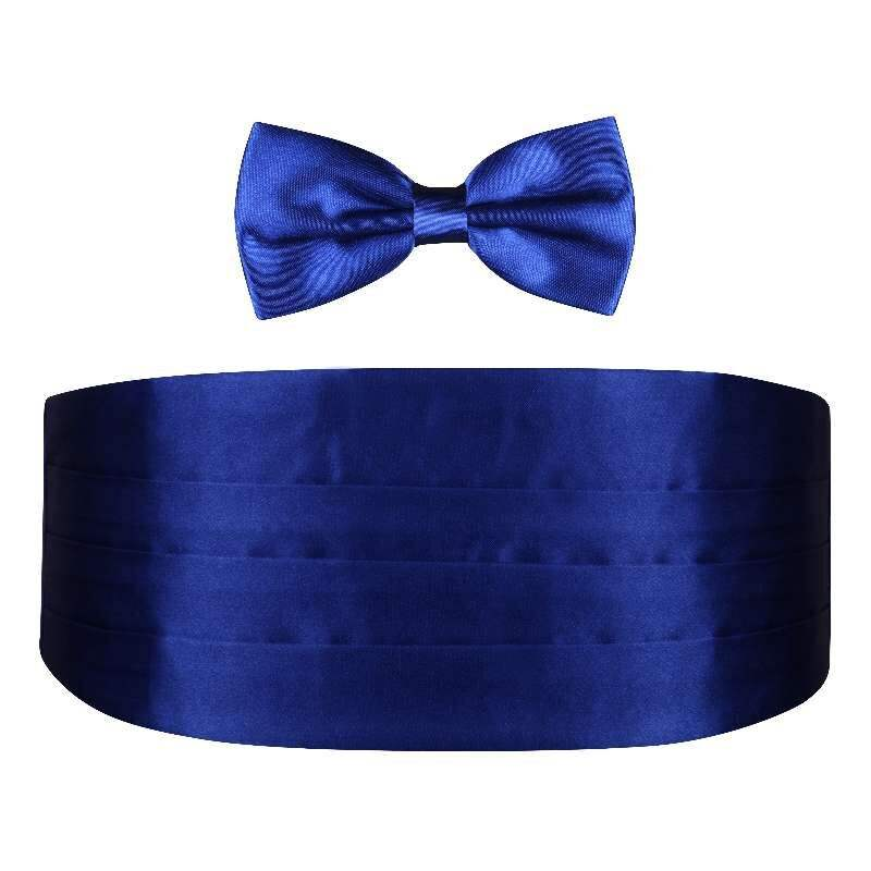 Custom plain dying royal blue bow tie mens and cummerbund