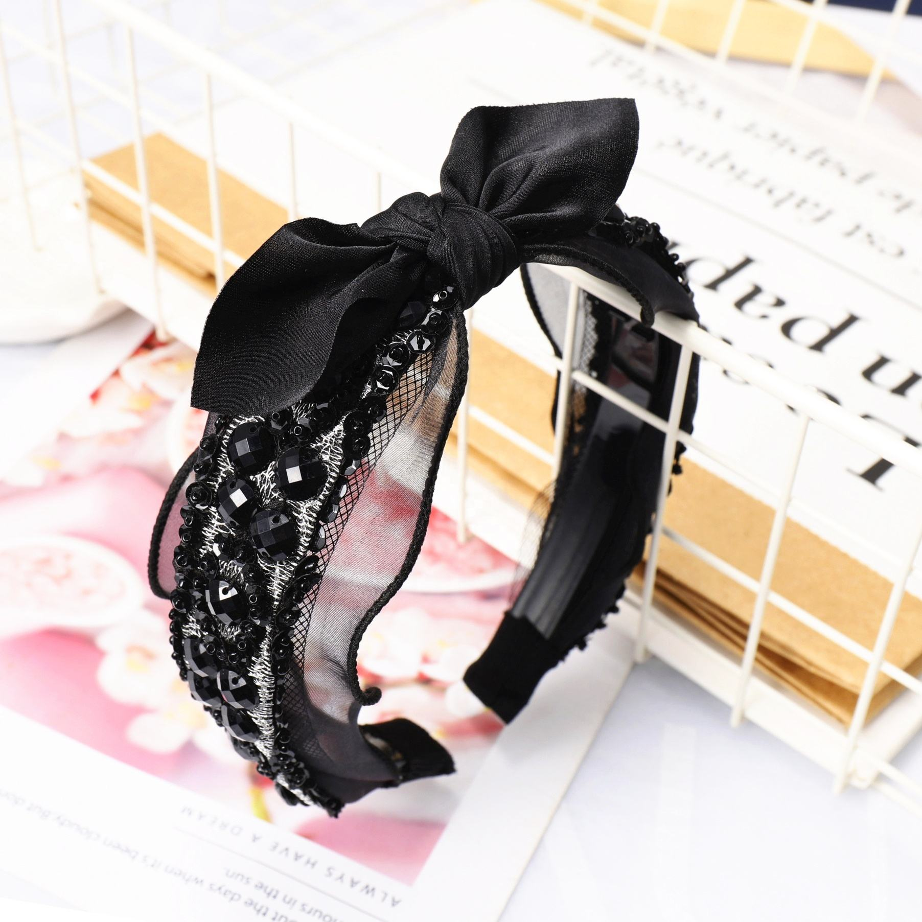 Top Selling Black Rhinestone Lace Knot Headband For Wholesale