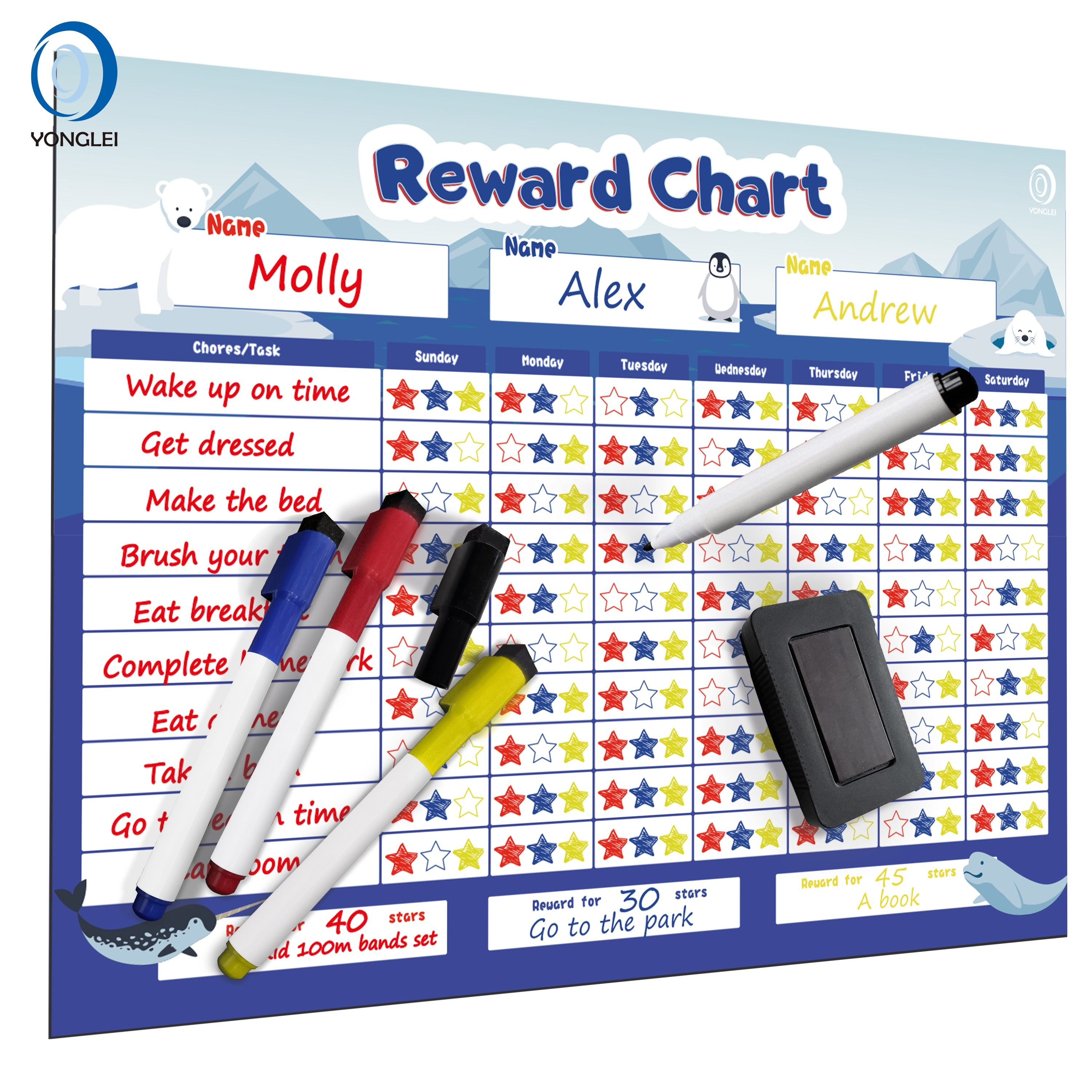 8.5-1A2 Dry erase magnetic chore chart reward chart for fridge