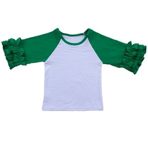 2019 girls fall shirts baby icing raglan ruffle shirts monogram blank knit shirts