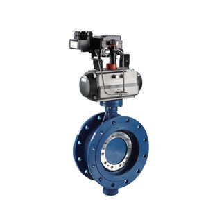 COVNA DN150 6 inch PN16 High Performance Triple Offset Metal Seat Double Flange Cast Iron Pneumatic Actuated Butterfly Valve