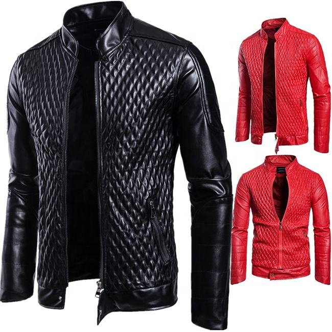 2019 new fashion black and red zipper collar men's leather PU jackets