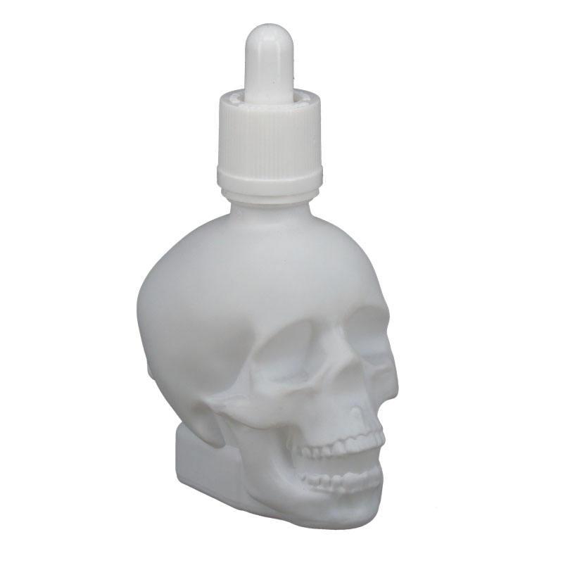 60 ml <span class=keywords><strong>blanc</strong></span> givré crâne en forme de bouteilles en verre avec bouchons compte gouttes