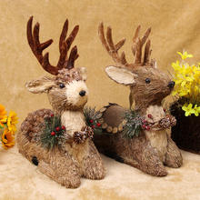 sisal straw christmas ornaments reindeer owl squirrel easter rabbit handicraft for holiday decoration , christmas holiday gift