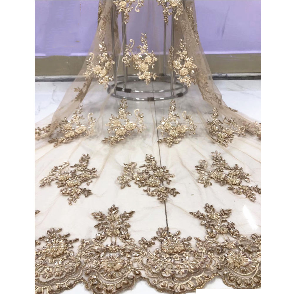 Beautifical afrikaanse shirt nigeriaanse kralen bridal lace wedding hoge kwaliteit tulle ML1N926