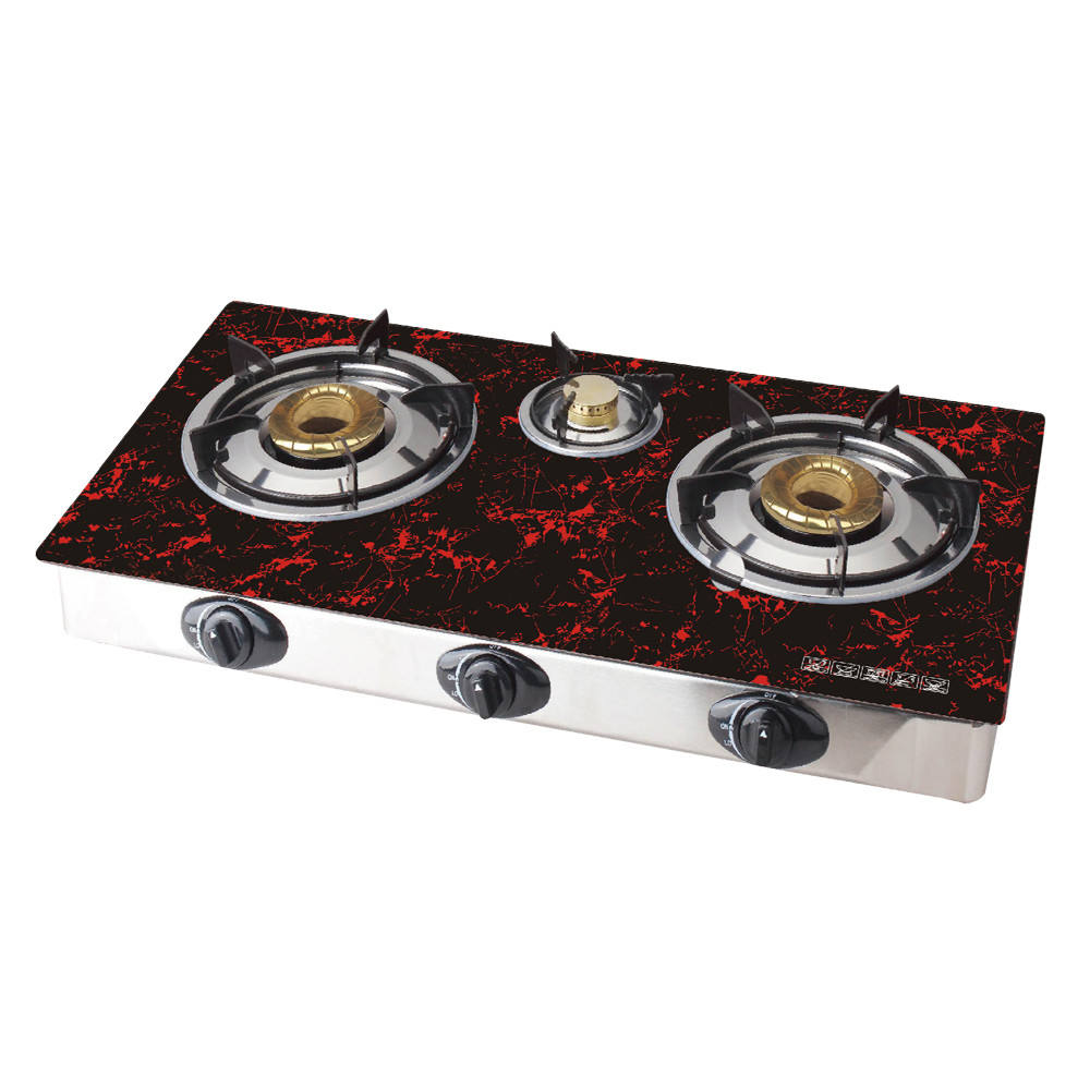 household good price tempered glass gas cooker stove 3 cast iron burner table gas stove