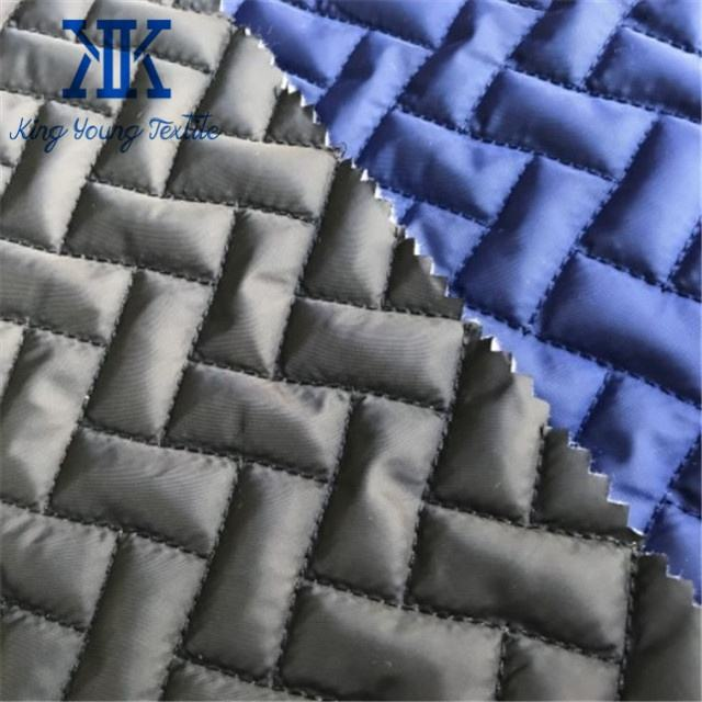 quilted fabric plain 100% polyester / polyester wadding pre quilted fabric / garment padding material