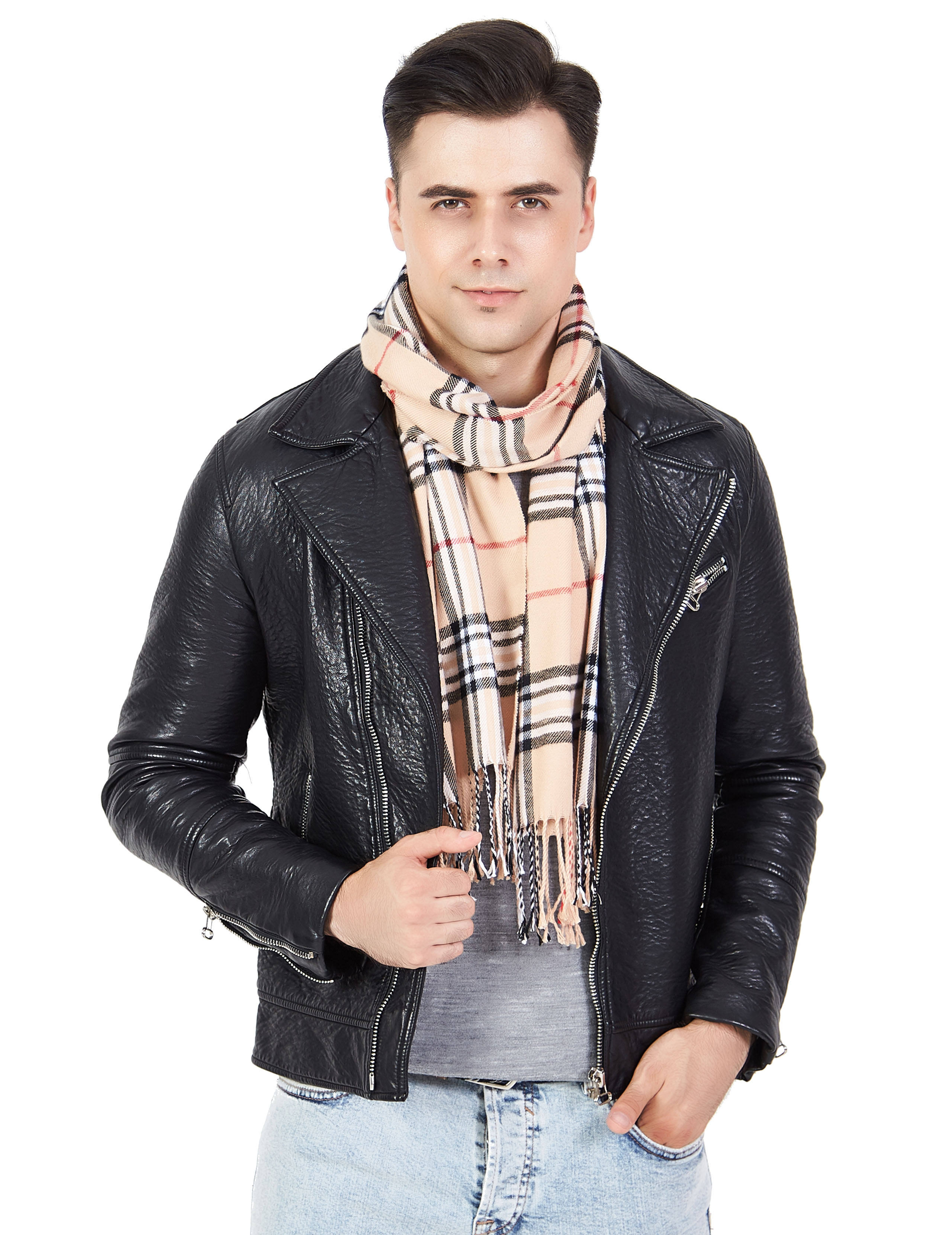 Wholesale Bulk Stock Winter plaid men's cashmere scarf men knitted scarf