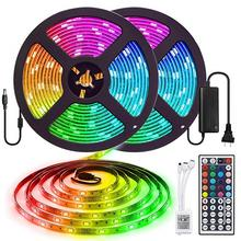 LED Strip Light Waterproof 16.4ft RGB SMD3528 with Supply Plug for Home Kitchen Bed Room Decoration
